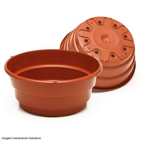 modelo de vaso redondo marrom com furinhos embaixo.