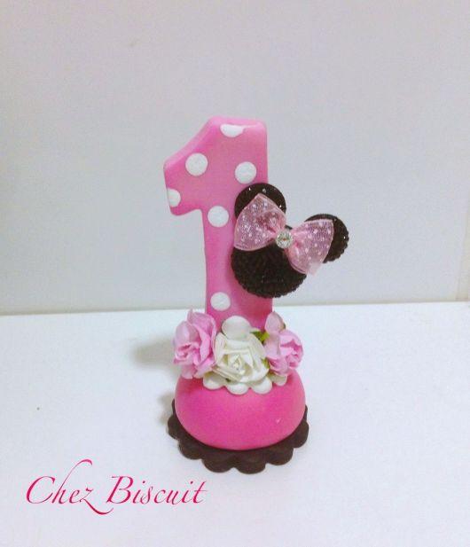 Vela de biscuit Minnie rosa com número 1