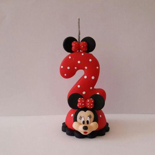 Vela de biscuit Minnie com número 2