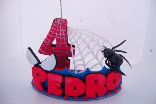 Vela de biscuit Homem Aranha com teia e aranha