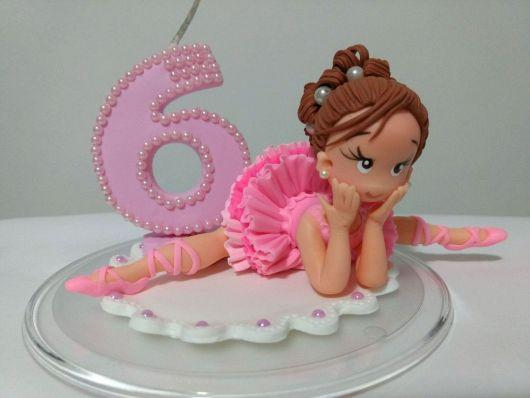 Vela de biscuit Bailarina com número 6