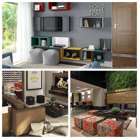 Há várias maneiras de incluir um puff quadrado na decoração de sua casa