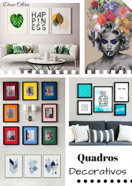 quadros coloridos decorativos em paredes clean.