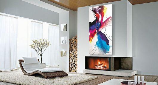 quadro decorativo em sala de estar clean.