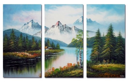 quadro decorativo com paisagem de lago e montanhas..