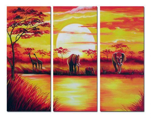 quadro com paisagem de elefantes e por do sol.