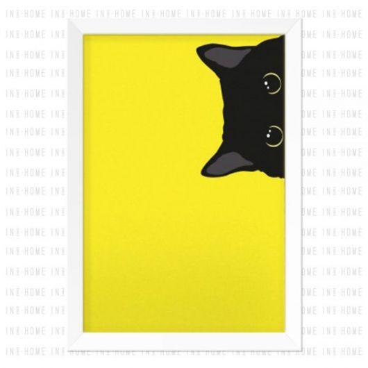 quadro decorativo de gato preto com fundo amarelo.
