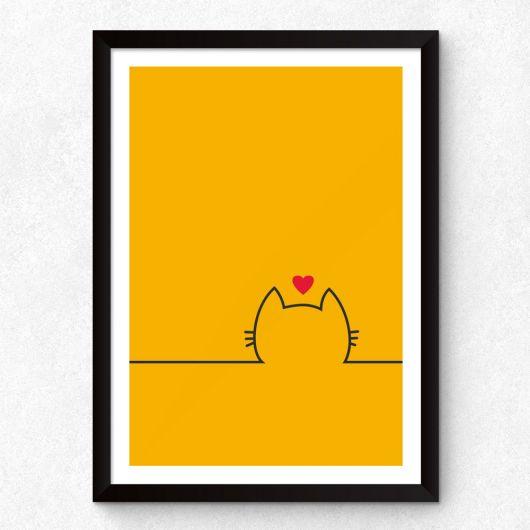 quadro minimalista de gato com as cores amarelo, preto e vermelho.