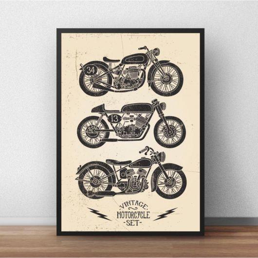 Quadro vintage com motos pretas em desenho.