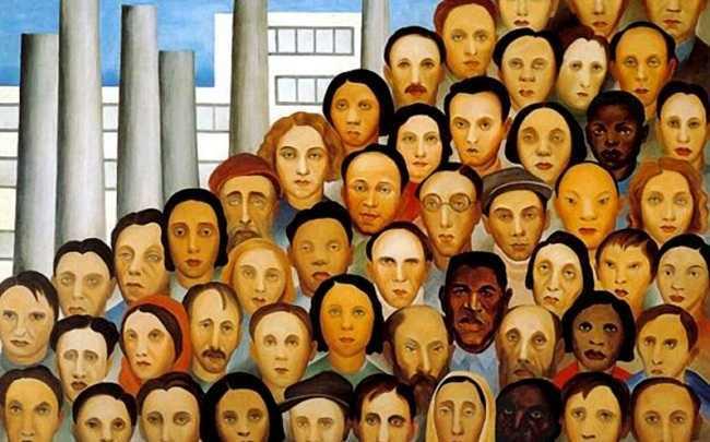 quadro decorativo com muitas pessoas pintadas.