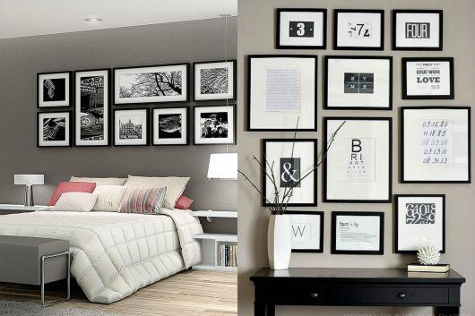 quadros decorativos nas cores branco e preto na parede de quarto de casal.