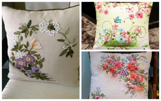 Almofadas bordadas têm todo o charme de uma peça artesanal