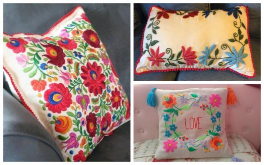 Invista nas charmosas almofadas com bordado mexicano