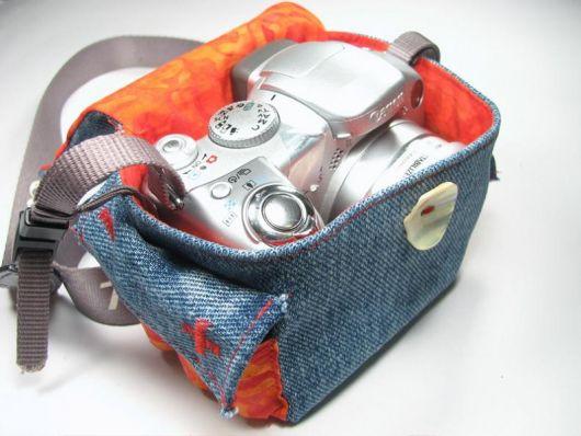 Capa de câmera fotográfica com jeans forrado com tecido