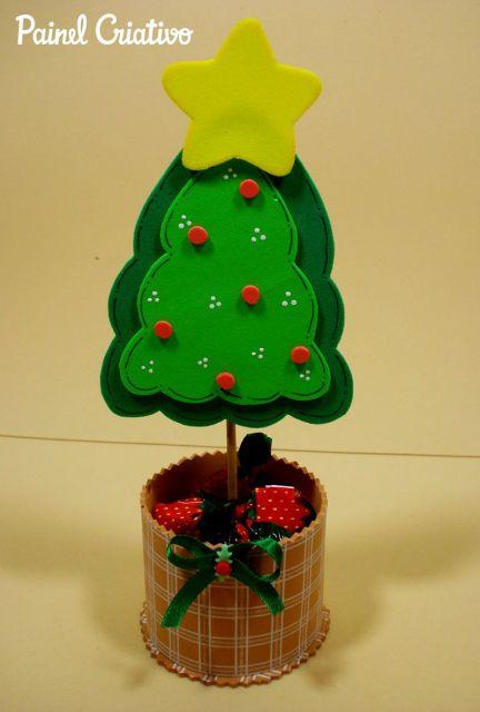 Árvore de Natal de EVA porta balas para lembrancinha