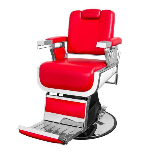 Uma cadeira de barbeiro moderna vermelha