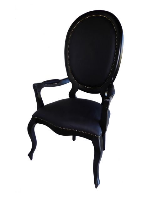 Cadeira medalhão preta