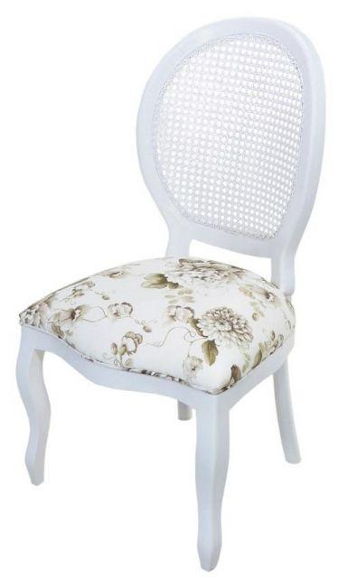 Cadeira medalhão branca e assento florido