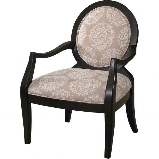 Cadeira com estrutura preta e estofado estampa