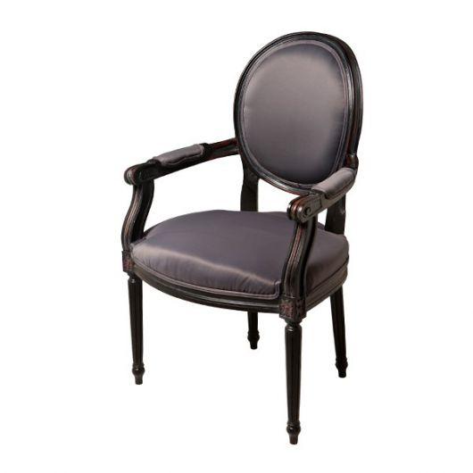 Cadeira medalhão com braço preta
