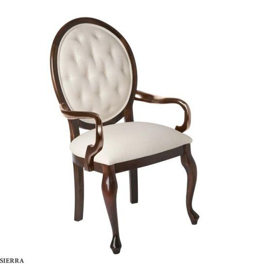 Cadeira medalhão com braço com estofado branco