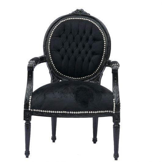 Cadeira medalhão com design clássico preta