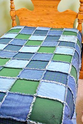Colcha de retalhos jeans azul e verde