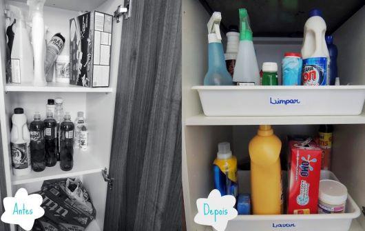 como organizar produtos de limpeza