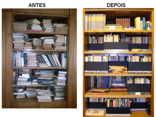 antes e depois prateleira livros