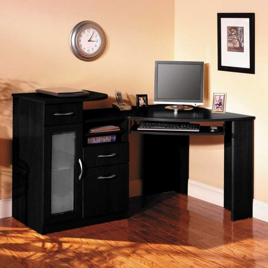 escrivaninha preta com gavetas