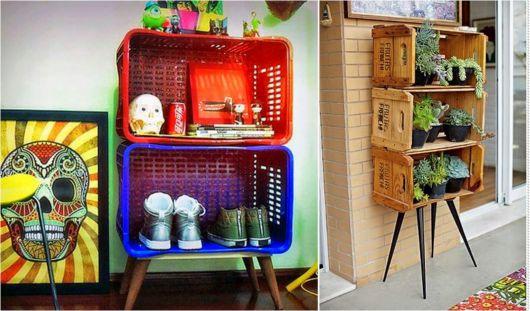Você também pode improvisar uma estante usando caixotes coloridos