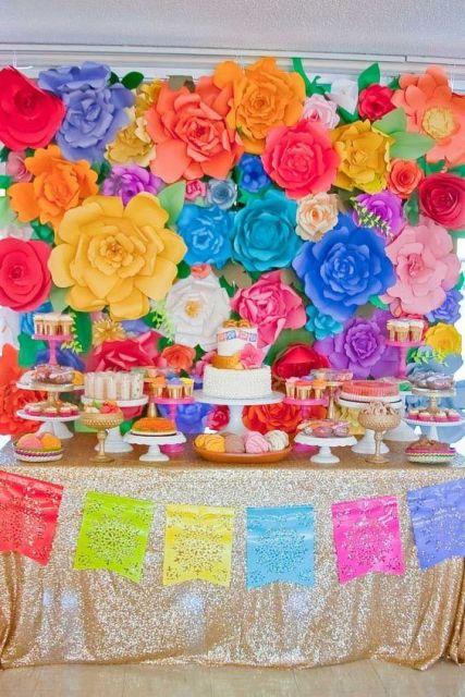 decoração colorida festa