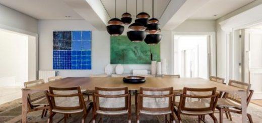 luminárias modernas pendente em mesa de jantar