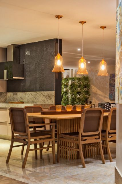 luminárias modernas pendente sala de jantar