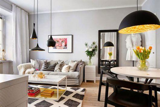 luminárias modernas pendente na sala de estar