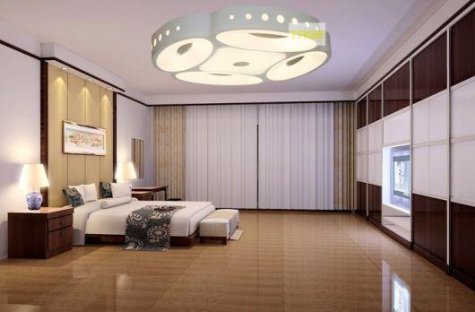 luminárias modernas em quarto