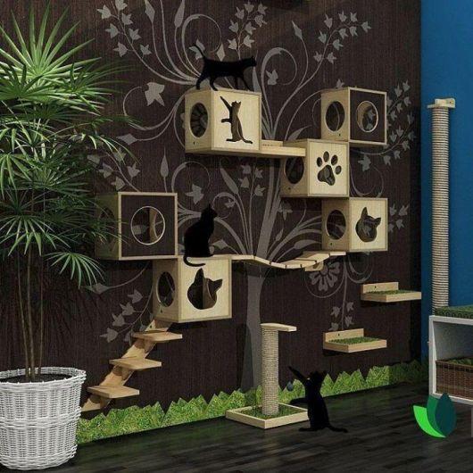 Lindo conceito moderno aproveitando os nichos como se fosse uma árvore
