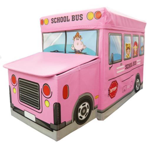 Puff baú em forma de ônibus escolar rosa