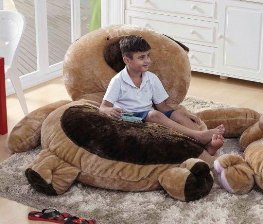 Puff infantil grande em forma de urso