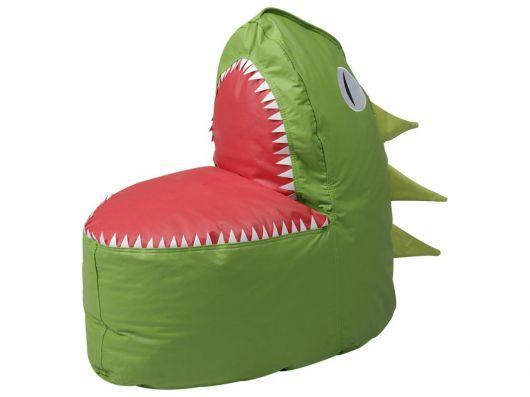 Puff em forma de dinossauro de couro