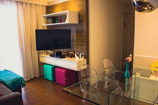 decoração sala de TV e jantar integradas
