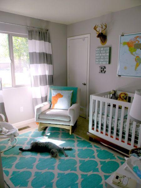usar o tapete turquesa em quartos de bebê