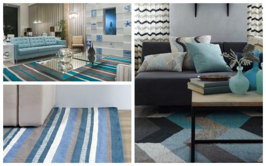 Qualquer que seja o estilo de decoração de sua casa, dá para compor com um tapete azul incrível