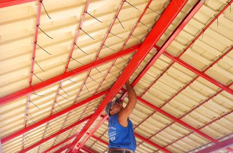 Instalação da telha ecológica