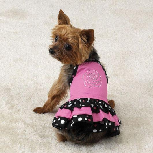 vestido para cachorro poá rosa e preto