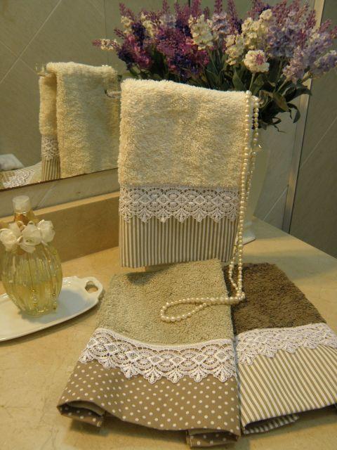 Kit de 2 toalhas para lavabo com renda guipir