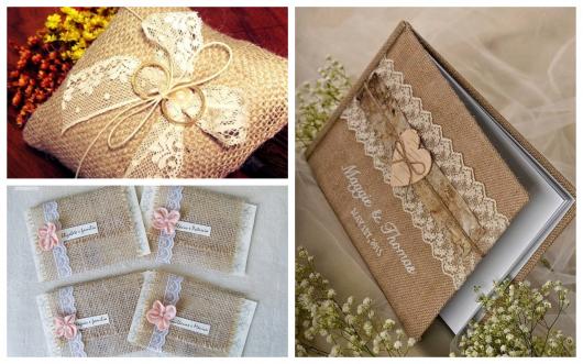 A juta é um dos materiais mais usados para decoração de casamentos