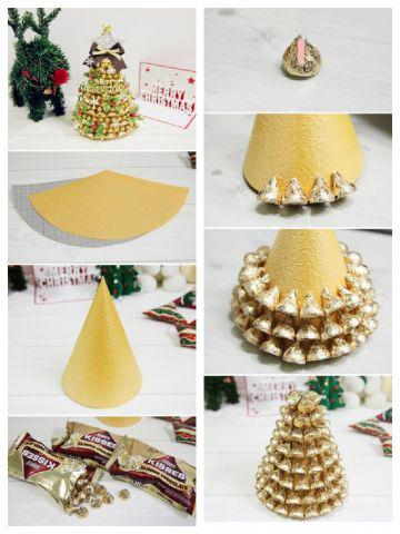 Como fazer árvore de Natal com bombom Kiss