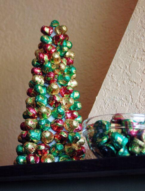 Árvore de Natal com bombons coloridos