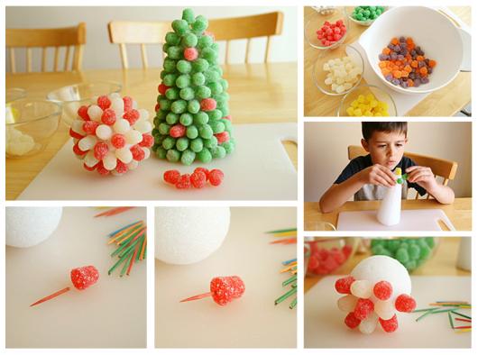 A criançada pode ajudar a fazer uma árvore de natal de jujuba